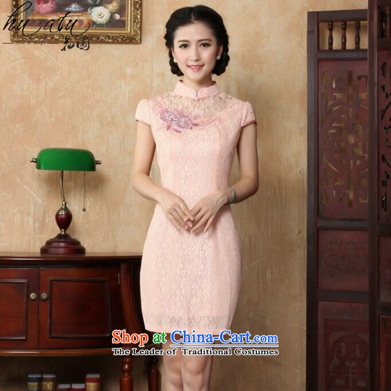 Dan smoke cheongsam dress skirt the new Chinese collar summer embroidery lace short of stylish qipao improved qipao figure color聽M