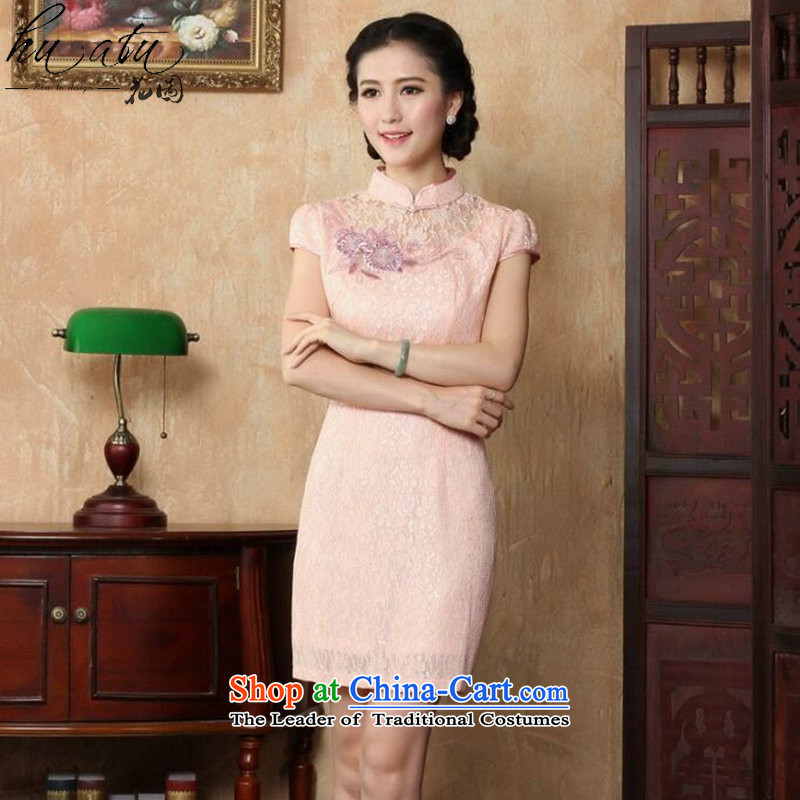 Floral qipao women's dresses new Chinese collar summer embroidery lace short of stylish qipao improved qipao Figure Color燬
