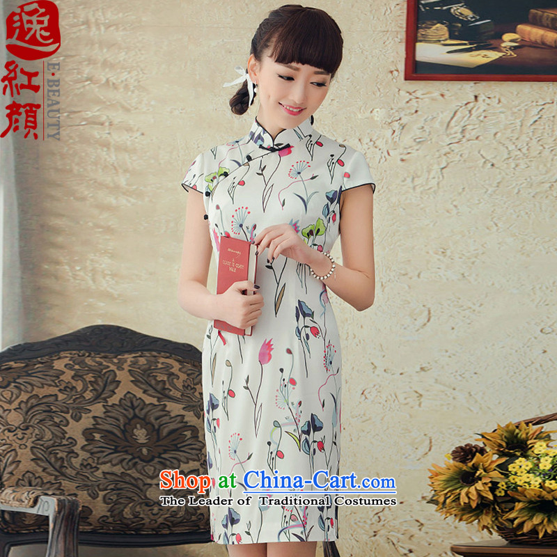 A Pinwheel Without Wind, Chun Yat Silk Cheongsam summer short period of improvement of spring 2015 Republic of Korea cheongsam dress Daily White?XL