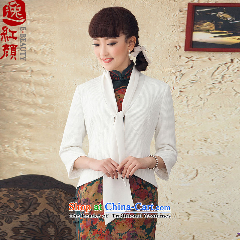 A Pinwheel Without Wind animation on new Plaza, long-sleeved T-shirt qipao improved national Wind Jacket Chinese Tang Women's clothes during the Spring and Autumn White燤