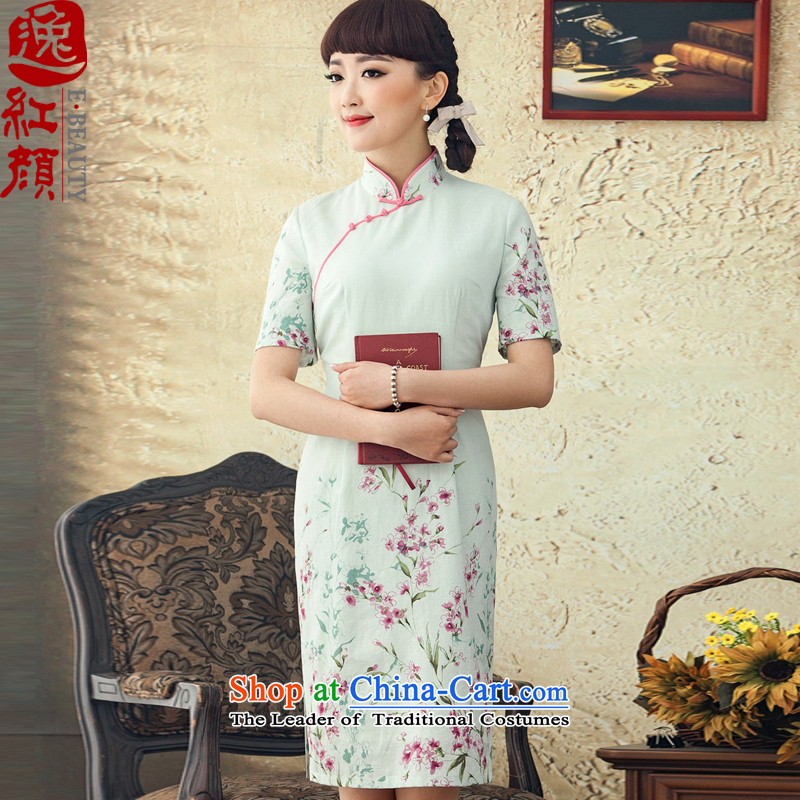 A Pinwheel Without Wind Yat hallway聽2015 new stamp improved cotton linen dresses short spring summer retro cheongsam dress white聽L