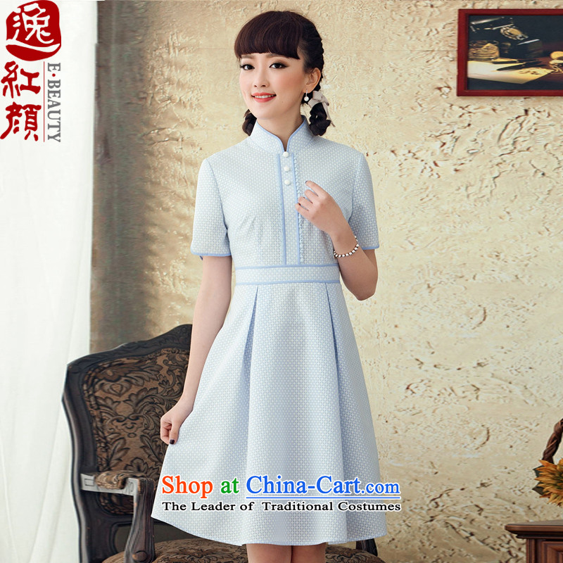 A Pinwheel Without Wind-Ching Lau Yat聽 2015 new ethnic lace dresses retro autumn temperament summer skirt blue Sau San聽S
