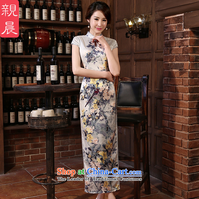 At 2015 new parent cheongsam dress autumn summer Ms. retro long skirt improved stylish daily cheongsam long 2XL