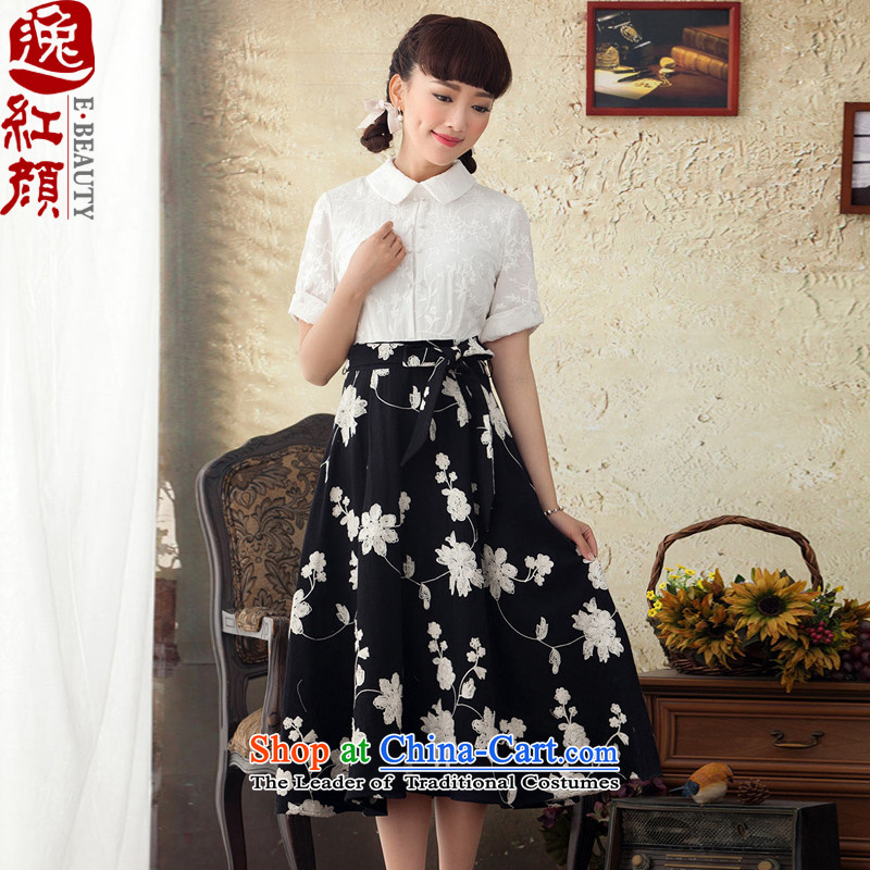 A Pinwheel Without Wind Yat fun spring and autumn Yat in long ethnic antique dresses in Embroidery Apron Cuff   Black?M