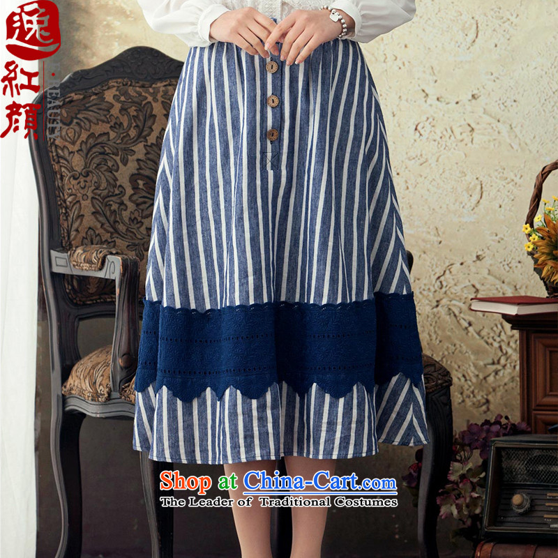 A Pinwheel Without Wind smile on ethnic Yat stripe cotton linen body skirt spring and summer long skirt the New Literature retro 2015 swing skirt green M