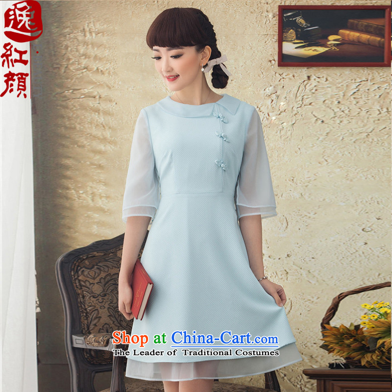 A Pinwheel Without Wind, Wan Wah Yat 2015 new national wind in Sau San cuff dresses in Spring and Summer Art Nouveau Female dress blue L