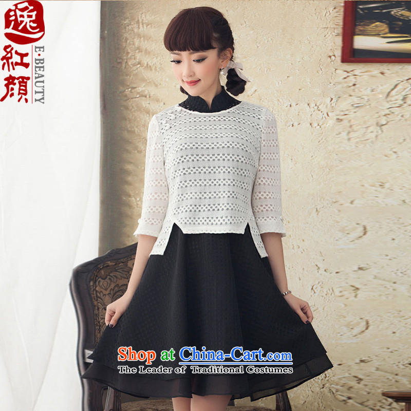 A Pinwheel Without Wind Constitution Constitution Dancing Plaza in long-sleeved latticed collar two kits dresses ethnic 2015 new spring and fall tea white?S