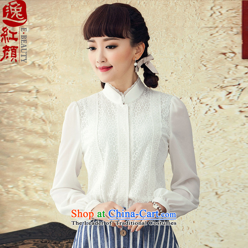 A Pinwheel Without Wind Flower population of Sau San Tong Yi ethnic lace white shirt female long-sleeved 2015 New Chinese Antique autumn white?L