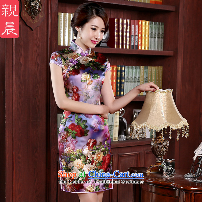 At 2015 new pro-quality silk dulls women's daily short, sauna silk cheongsam dress improved bottom edge first first stylish short,?L