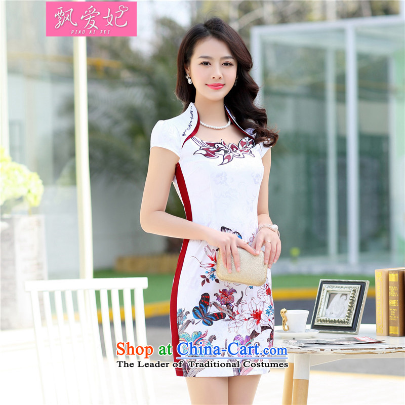 Piao lover,聽2015 Summer new cheongsam retro improved short, Tang who decorated porcelain girl dresses cheongsam dress聽1520 RED聽M