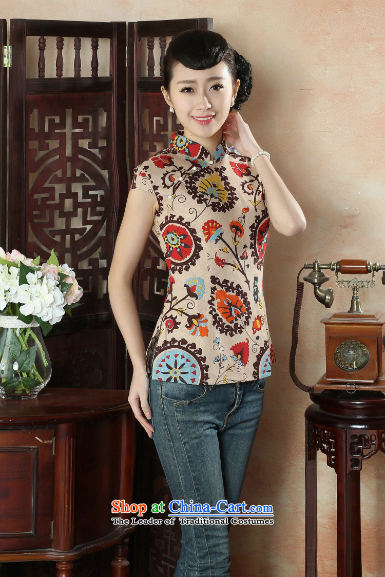Figure for summer flowers new cheongsam dress shirt Chinese literature improved cotton linen Mock-Neck Shirt Ms. Tang dynasty stamp figure color pictures, prices, XL brand platters! The elections are supplied in the national character of distribution, so action, buy now enjoy more preferential! As soon as possible.