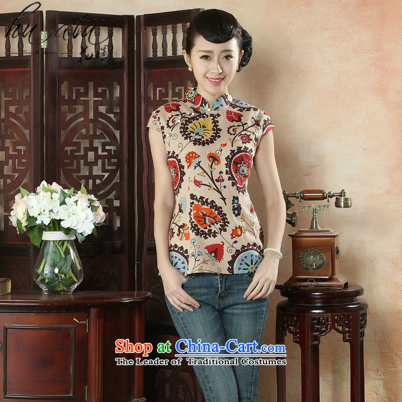 Figure for summer flowers new cheongsam dress shirt Chinese literature improved cotton linen Mock-Neck Shirt Ms. Tang dynasty stamp Figure Color XL