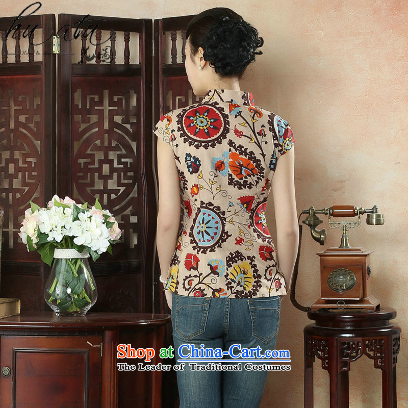 Figure for summer flowers new cheongsam dress shirt Chinese literature improved cotton linen Mock-Neck Shirt Ms. Tang dynasty stamp figure color mosaic XL, , , , shopping on the Internet