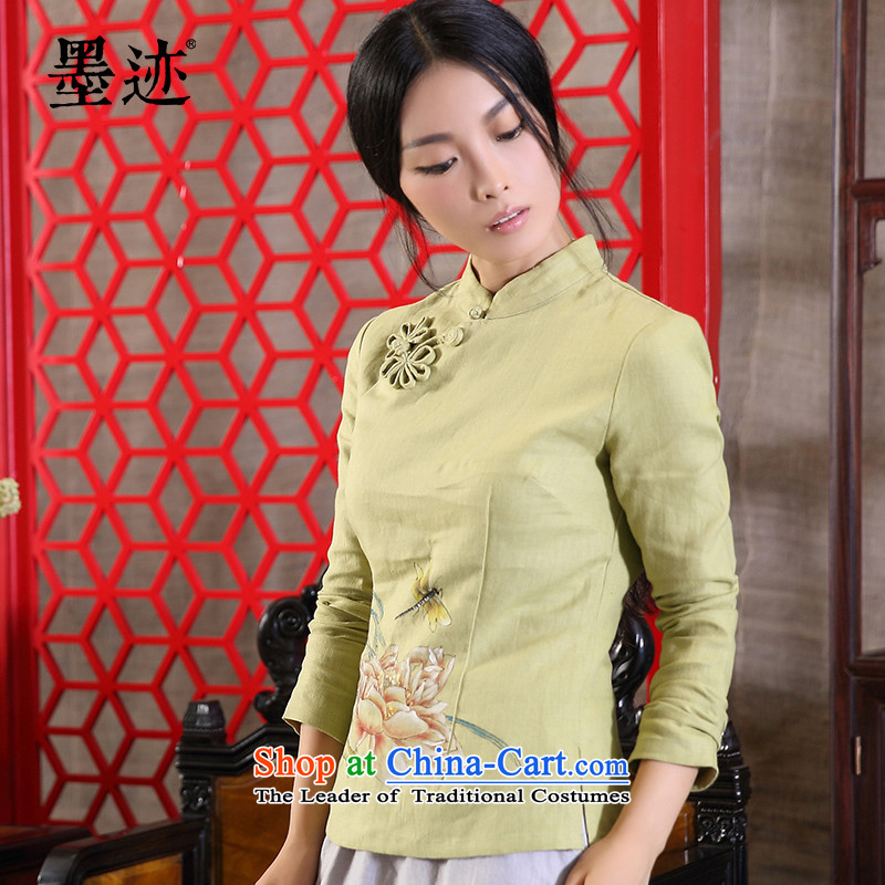 The original ink linen hand-painted Tang dynasty female Han-long-sleeved T-shirt retro ethnic green L