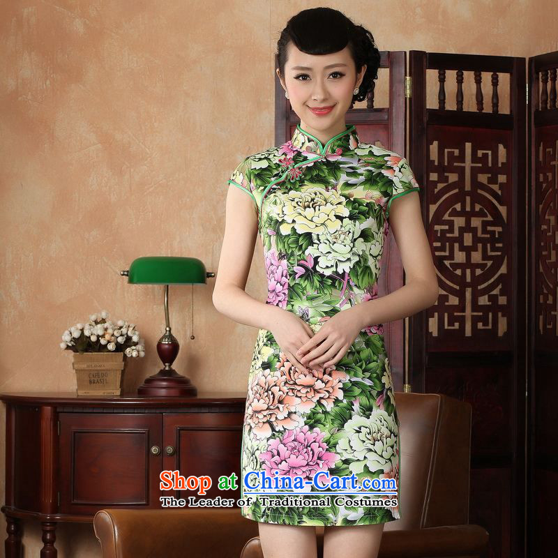 Floor is a new summer, Ms. floor elegance short of Tang Dynasty qipao new Chinese cheongsam dress?D0221-a improved 2XL