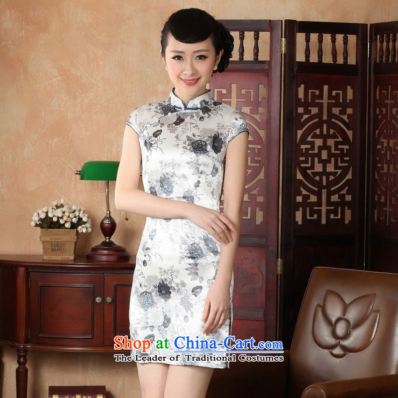 Ms. Floor Floor yet Tang dynasty cheongsam dress improvement of ethnic Chinese ink painting cheongsam dress dresses sepia pictures color 2XL