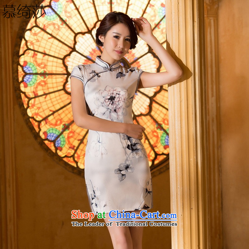 The cross-sa?2015 ink new summer daily improvements qipao cheongsam dress suit Chinese ink painting cheongsam dress?ZA 060?Ink?M