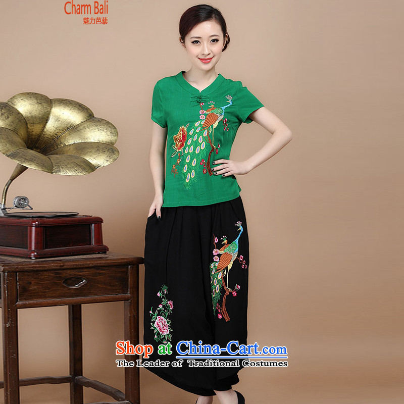 Mr Ronald decorated in 2015 Cotton embroidery Tang dynasty V-Neck short-sleeved T-shirt, two sets of load pants can sell green Kit燣
