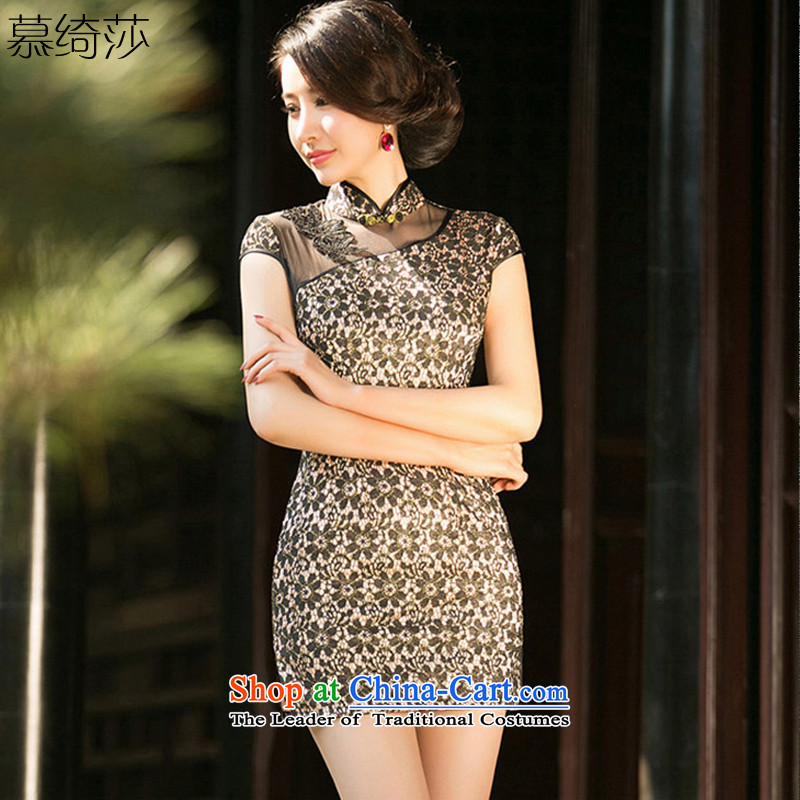 The Windsor Mr Ronald CHOW new cross-section summer daily improvements qipao cheongsam dress Ms. dress lace retro cheongsam dress?ZA 0 87?black?L