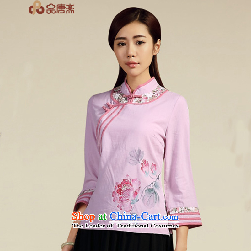 No. load spring and summer Ramadan Tang New 2015 ethnic cotton linen dress Chinese antique dresses pre-sale of Sau San April 20 light purple?XL