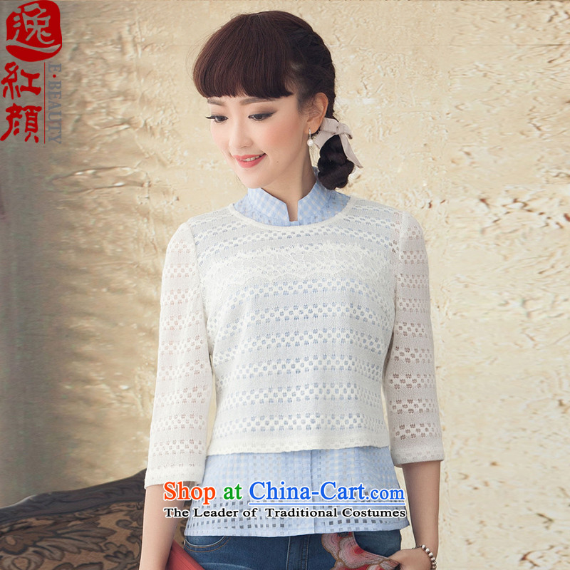 A Pinwheel Without Wind flowers in Yat long-sleeved T-shirt spring and summer qipao improved national wind kit Tang Dynasty, 2015 New White L