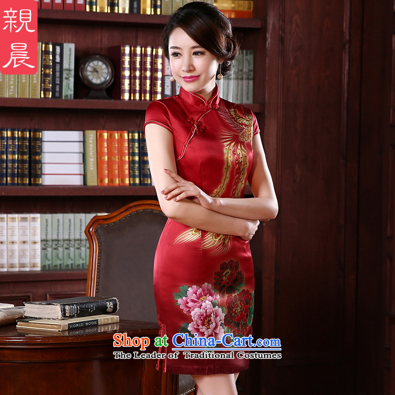 At 2015 new pro-silk cheongsam dress fall short of summer retro herbs extract routine cheongsam dress short,燬-five days of