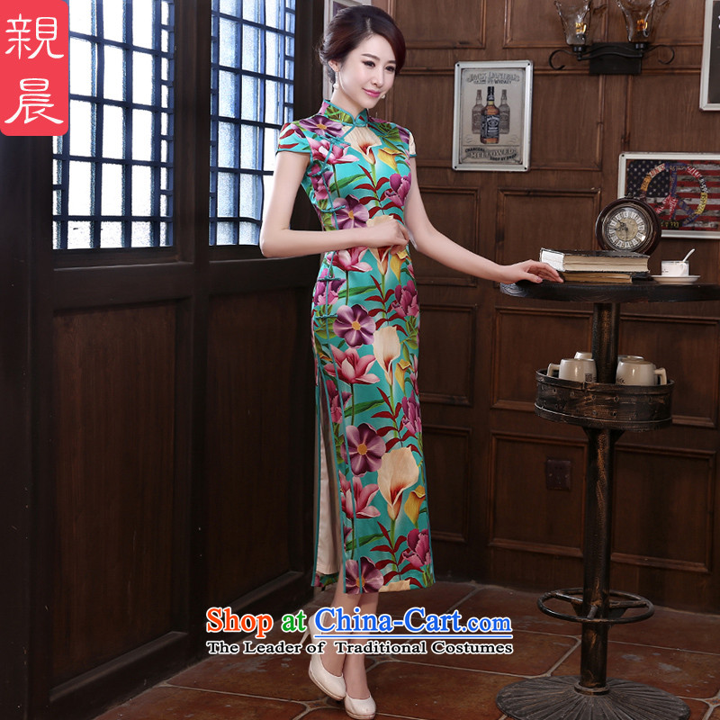 The pro-am new upscale heavyweight silk cheongsam dress in the summer and fall of long skirt herbs extract improved retro long�L