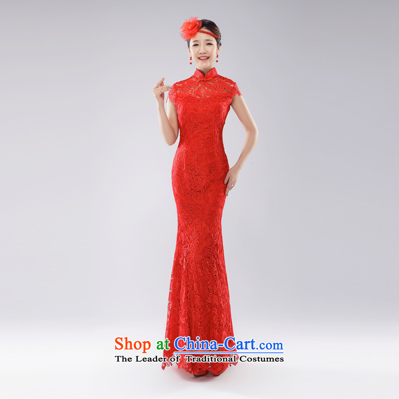 _Heung-lun's health wedding dresses cheongsam dress married back bride bows services crowsfoot lace red long improved new China wind wedding dress spring and summer 2015 Red燬