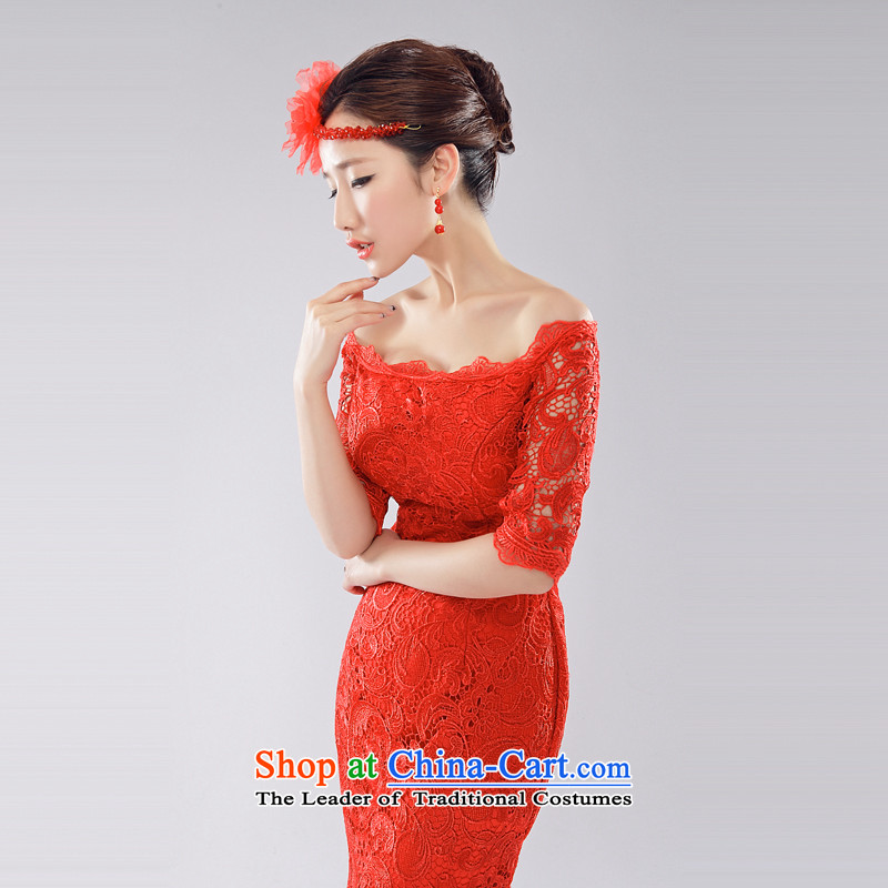 (Heung-lun's Health 2015 Spring/Summer new bride bows services improved qipao Stylish retro red lace a field shoulder straps qipao SAU SAN聽LUN, red, L, incense shopping on the Internet has been pressed.