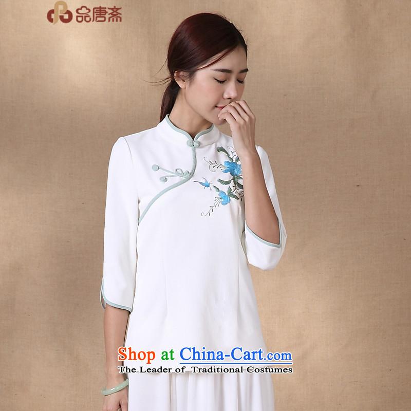 No. load spring and summer Ramadan Tang New 2015 ethnic retro shirt improved Sau San white?L Cheongsam