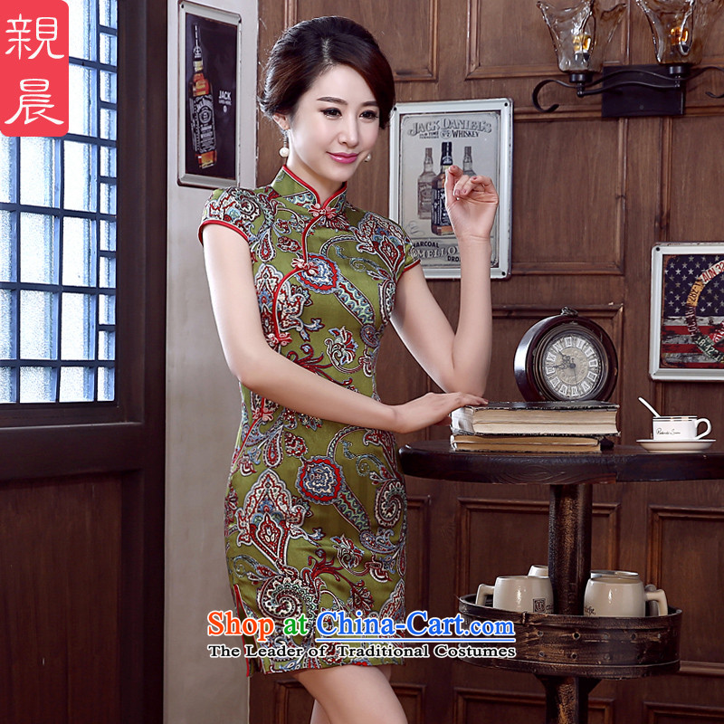 At 2015 new pro-Silk Cheongsam fall short of the summer day-to-dos Santos silk cheongsam dress improved stylish Ms. Green background safflower Silk Cheongsam S