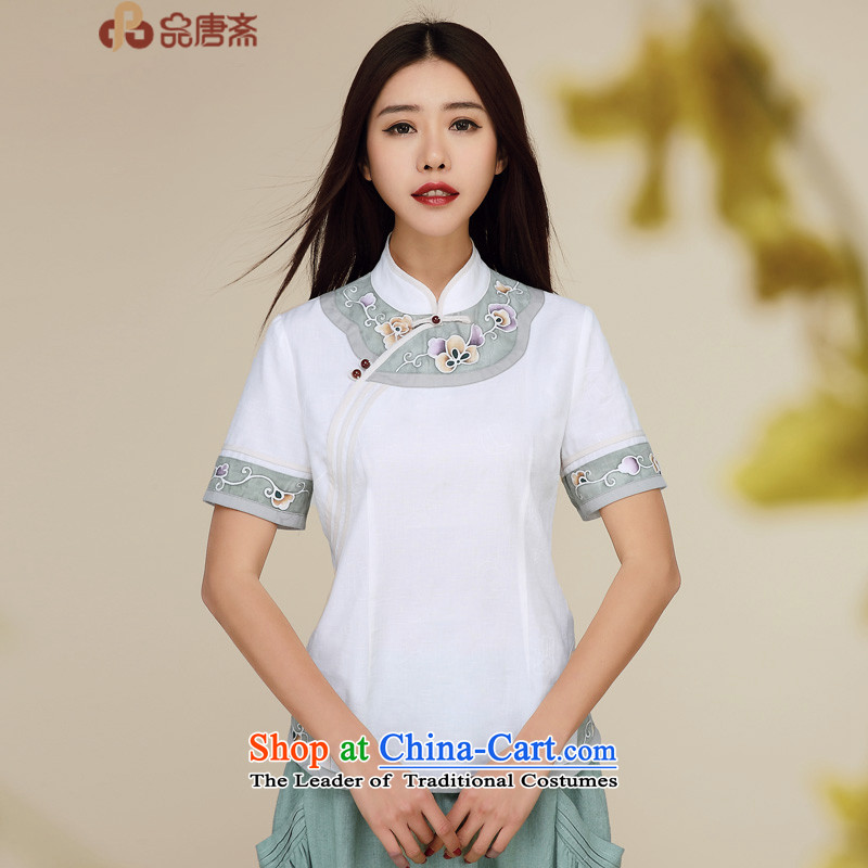 Tang Tang Dynasty Ramadan No. female summer new ethnic WOMEN'S SHORTS retro qipao white shirt?S