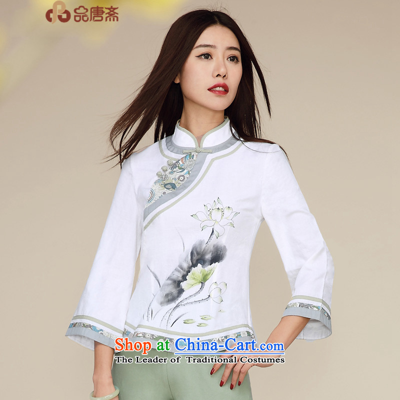 No. of Ramadan 2015 Autumn Load Tang new ethnic retro Tang Women's clothes 7 cotton linen white燣 T-shirt-sleeves Cheongsam