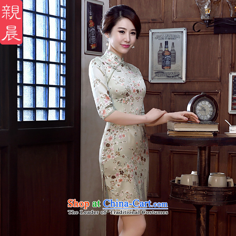 The pro-am new daily qipao 2015 skirt dresses fall short of summer herbs extract silk retro short of improving flag燬