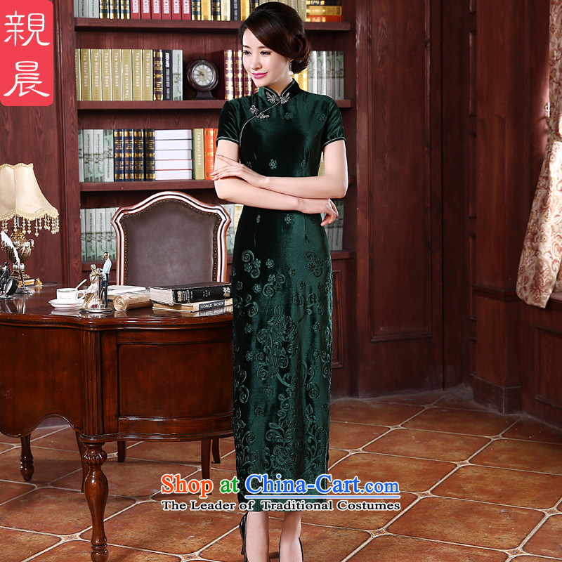 Upscale Kim scouring pads qipao skirt long wedding wedding dress with stylish 2015 Mother New autumn summer dresses long燱ORK 10 day shipping
