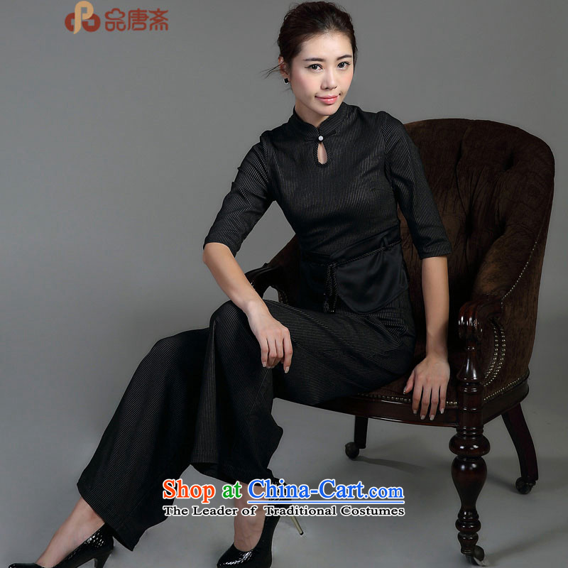 Tang Tang Dynasty Ramadan No. female�15 ethnic retro-han-black T-shirt qipao燲L