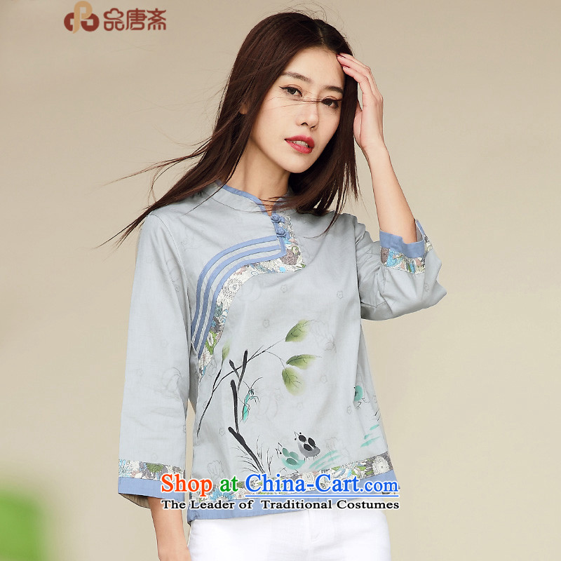 No. Tang Ramadan cotton linen Tang dynasty blouses autumn 2015 installed new ethnic Chinese improved Han-gray-blue S