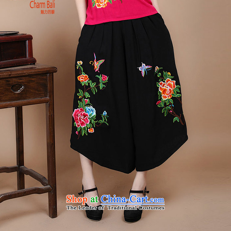 2015 Summer Korean retro Sau San Tong replace short-sleeved embroidered round-neck collar Tang blouses pants kit can sell�B210 trousers�XXL
