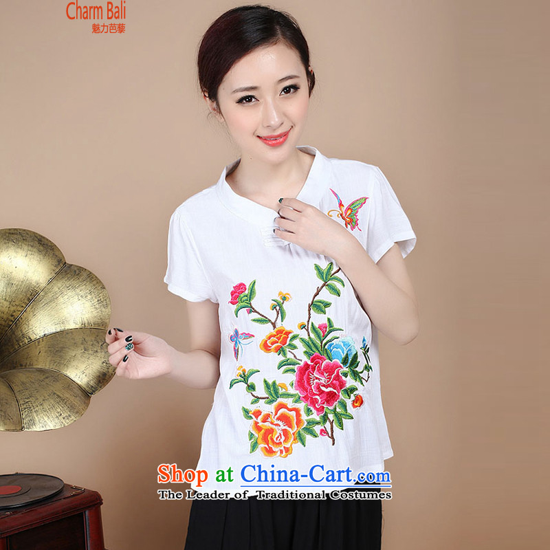 2015 Summer Korean retro Sau San Tong replace short-sleeved embroidered round-neck collar Tang blouses pants kit can sell white shirt燣