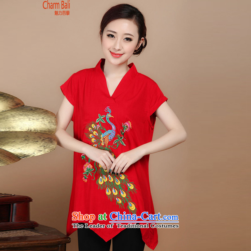 2015 Summer retro Sau San Tong load embroidery Short Sleeve V-neck in Tang Dynasty long red shirts XXL