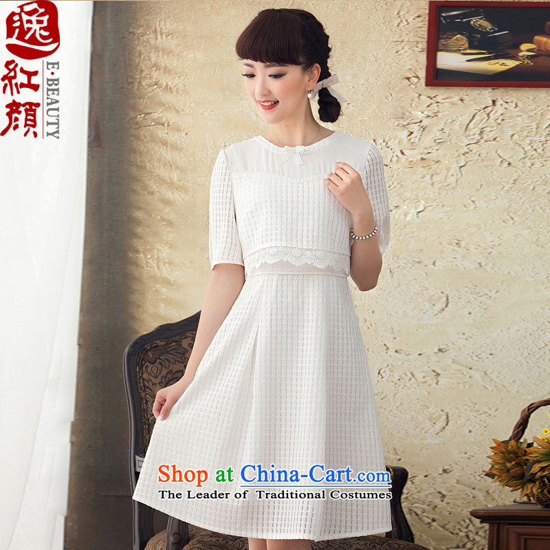 A Pinwheel Without Wind Power retro Yat Mute Ethnic Arts in spring and summer 2015 lace dresses women in temperament long skirt white燣