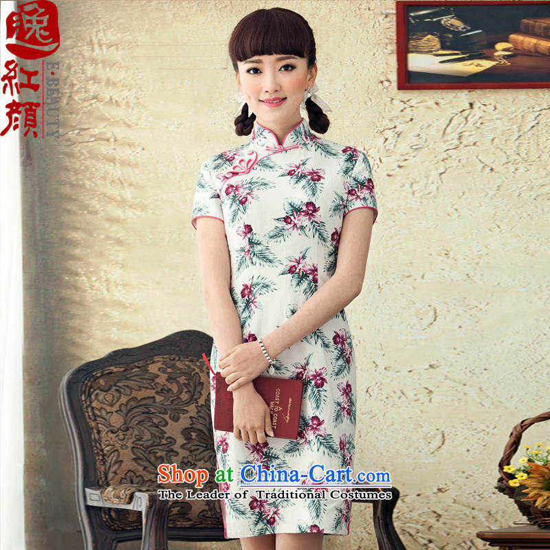 A Pinwheel Without Wind Yat Bik Ying?2015 new stamp cotton linen dresses Stylish spring and summer load improved qipao antique dresses White? XL