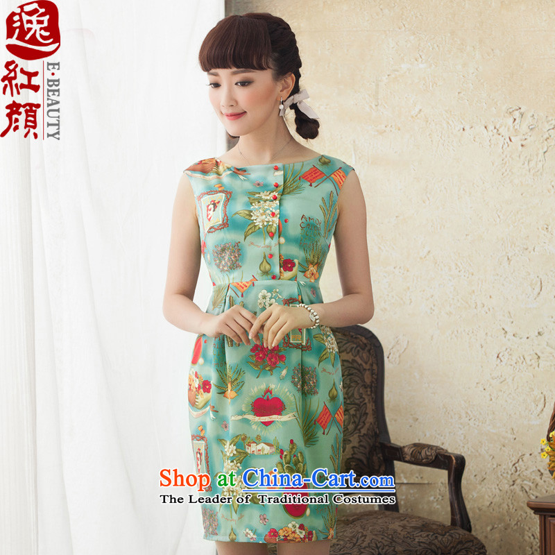 A Pinwheel Without Wind green cycle Yat Silk Cheongsam short, improvement of stamp 2015 new cheongsam spring and summer antique dresses Blue聽M