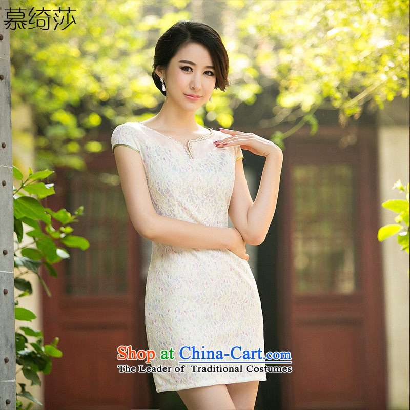 The cross-sa land improvement of daily new Xuan cheongsam dress billowy flounces lace cheongsam dress suit L029 ZA Light Yellow XL