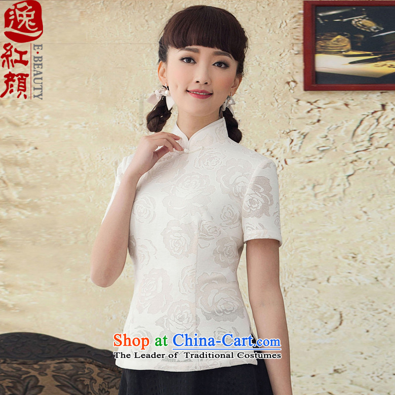 Lady Catherine Ginyu China Yat-Tang dynasty, summer improved national women's spring wind cotton short-sleeved T-shirt qipao white 25 ship 2XL