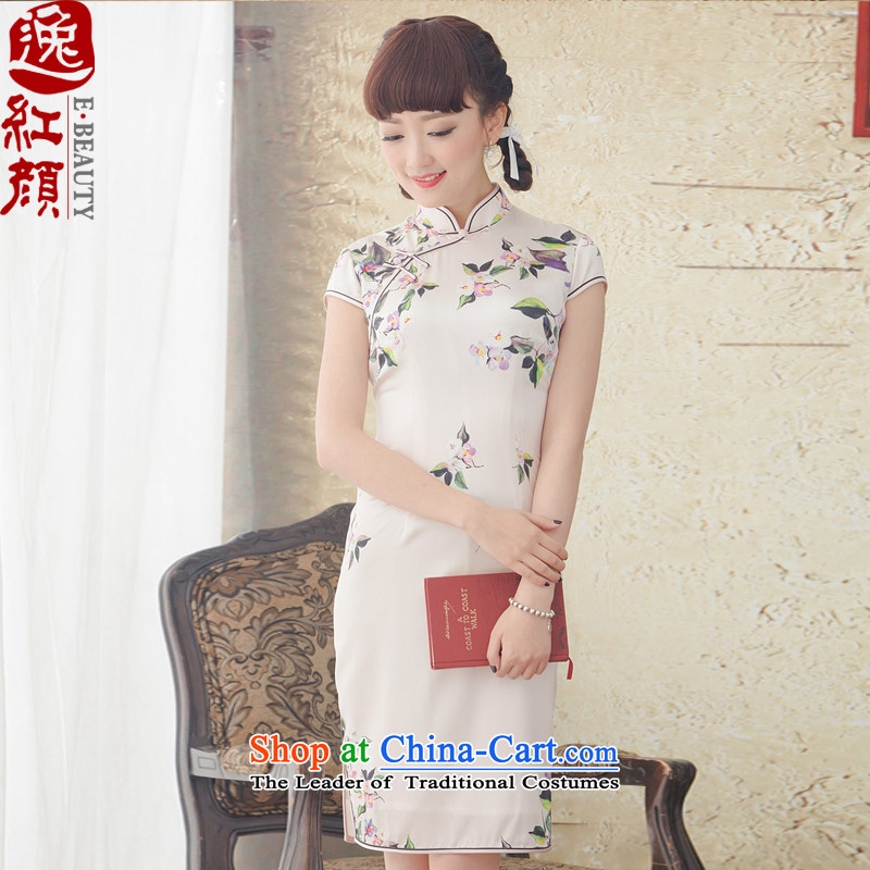 A Pinwheel Without Wind and arabic stamp Yat Silk Cheongsam short, improvement of spring and summer 2015 installed new retro cheongsam dress ivory?L