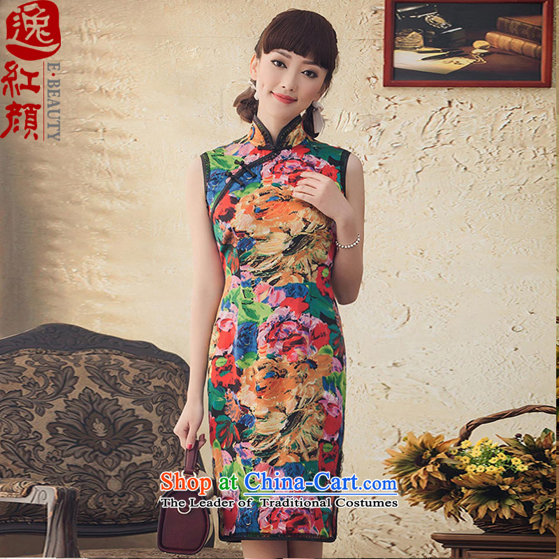 A Pinwheel Without Wind Kam Joseph Yat long Silk Cheongsam improved 2015 Stamp new spring and summer retro cheongsam dress suit�XL