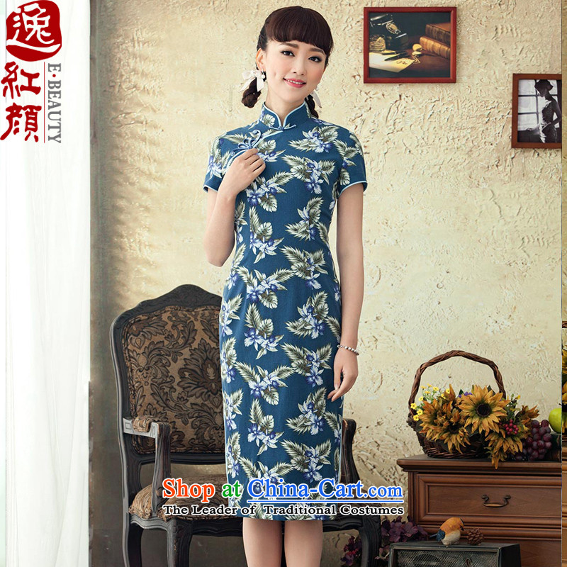 A Pinwheel Without Wind Yat Bik Ying聽2015 in New long cotton linen dresses improved spring and summer retro stamp cheongsam dress blue聽 S