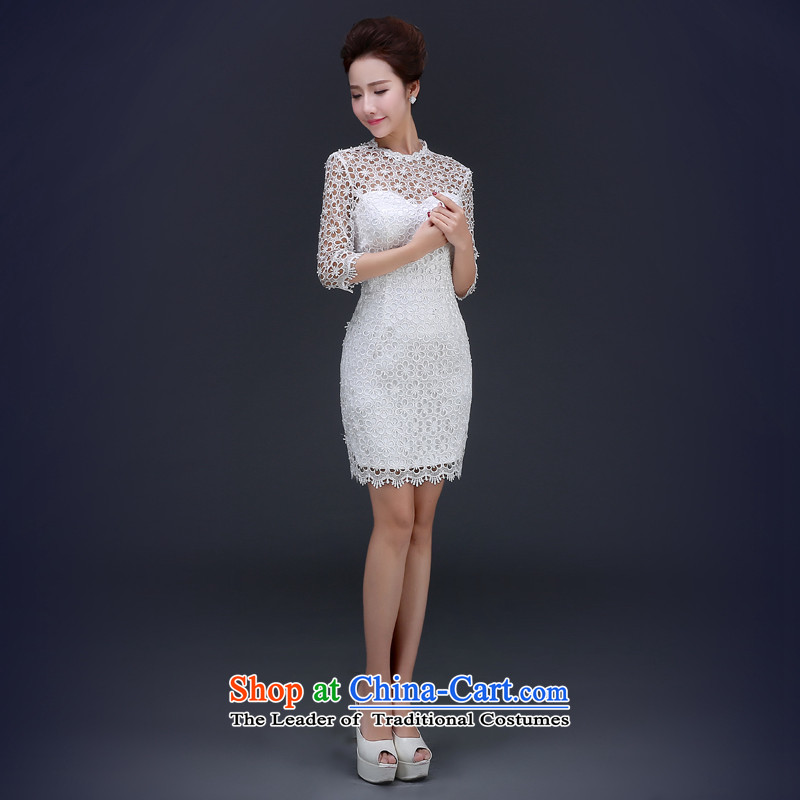 Jie mija qipao 2015 spring short of white lace bows service bridal dresses bows to marry her dress and stylish white S