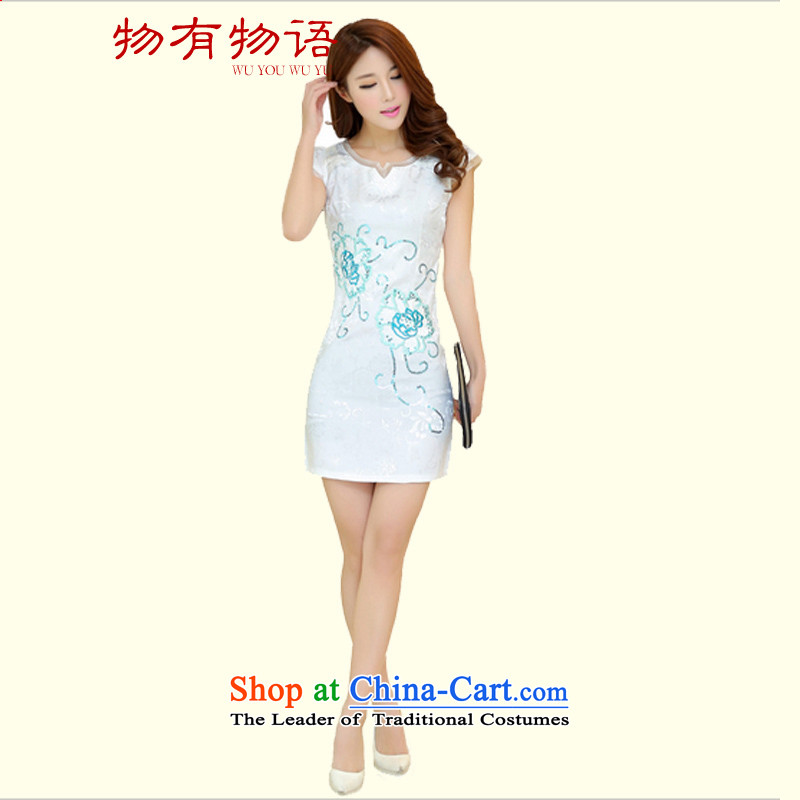 With the CHINESE CHEONGSAM Summer 2015 new summer_ long cheongsam dress retro style white XL 110-120 catty
